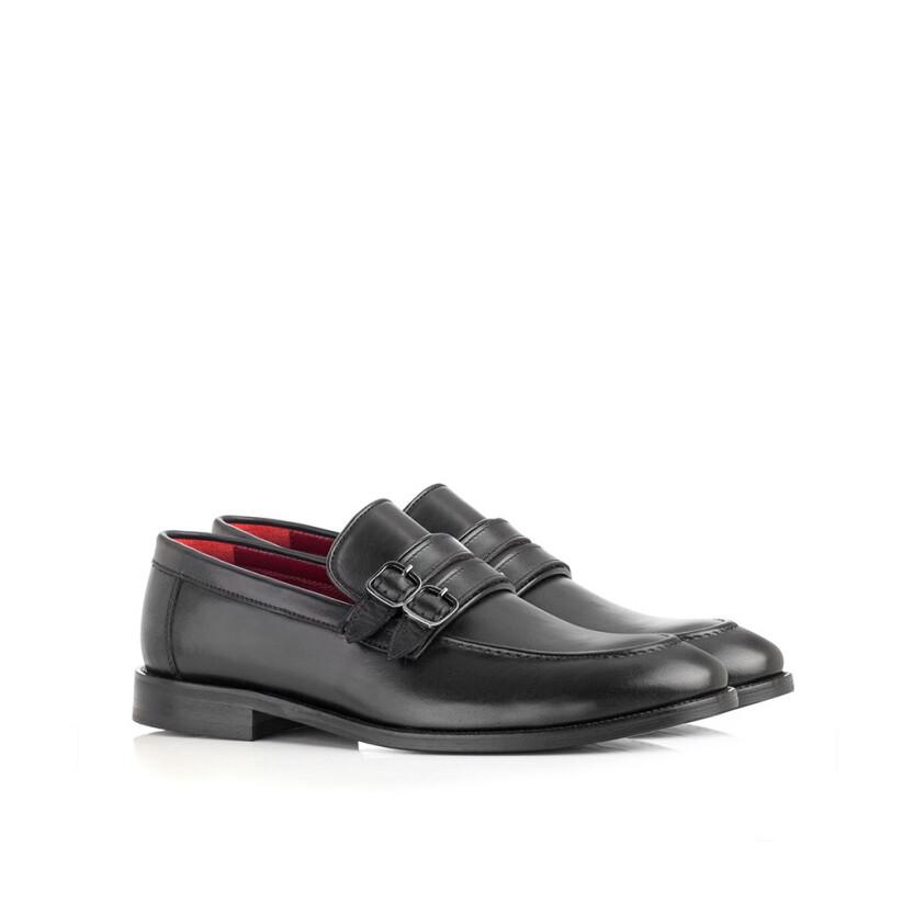 Loafer mit zwei Schnallen für Herren Alessandro Schwarz