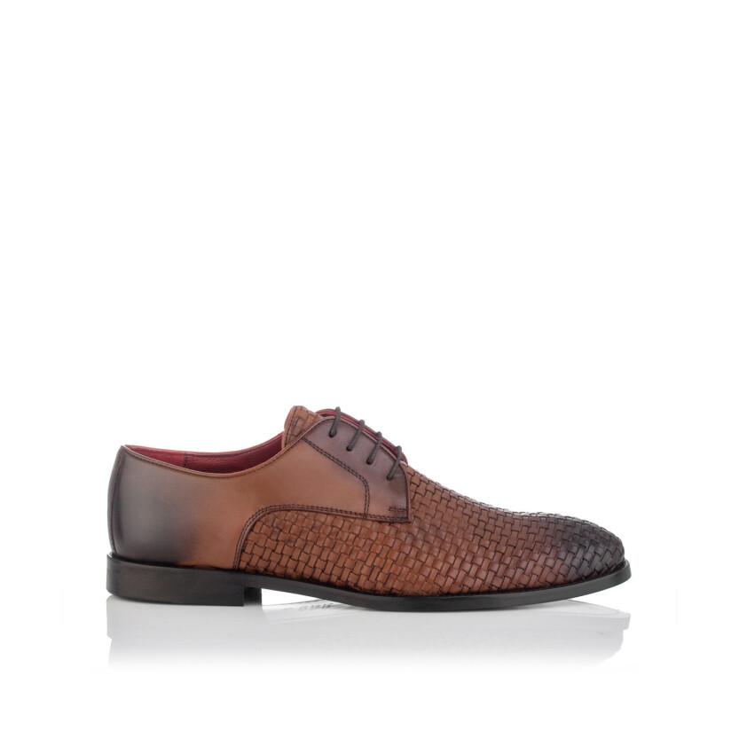 Gewebte Derby-Schuhe aus Leder für Herren Angelo Cognac