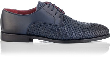 Gewebte Derby-Schuhe aus Leder für Herren Angelo Blau