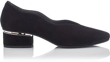 Blockabsatz Schuhe mit Karee-Spitze Carina Veloursleder – Schwarz