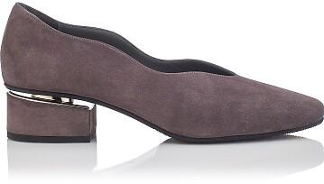 Blockabsatz Schuhe mit Karee-Spitze Carina Veloursleder Grau