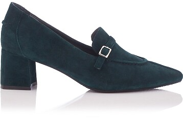 Block Heel Pointed Toe Schuhe Grazia Veloursleder – Dunkelgrün