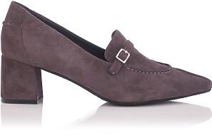 Block Heel Pointed Toe Schuhe Grazia Veloursleder - Grau