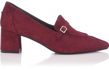 Block Heel Pointed Toe Schuhe Grazia Veloursleder - Burgund