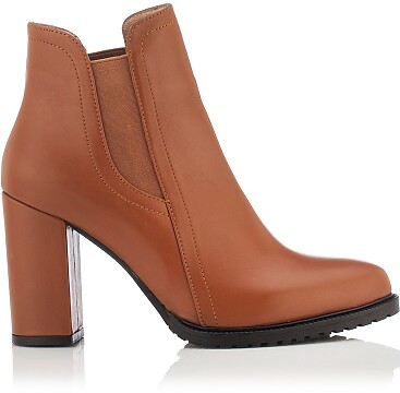 Chelsea-Stiefel mit Absatz Mia - Cognac