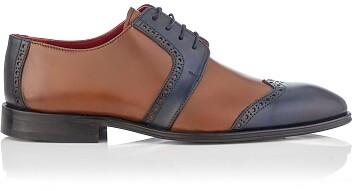 Derby-Schuhe für Herren Paolo Cognac & Blau
